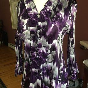 Purple ruffled crinkle blouse Dressbarn M